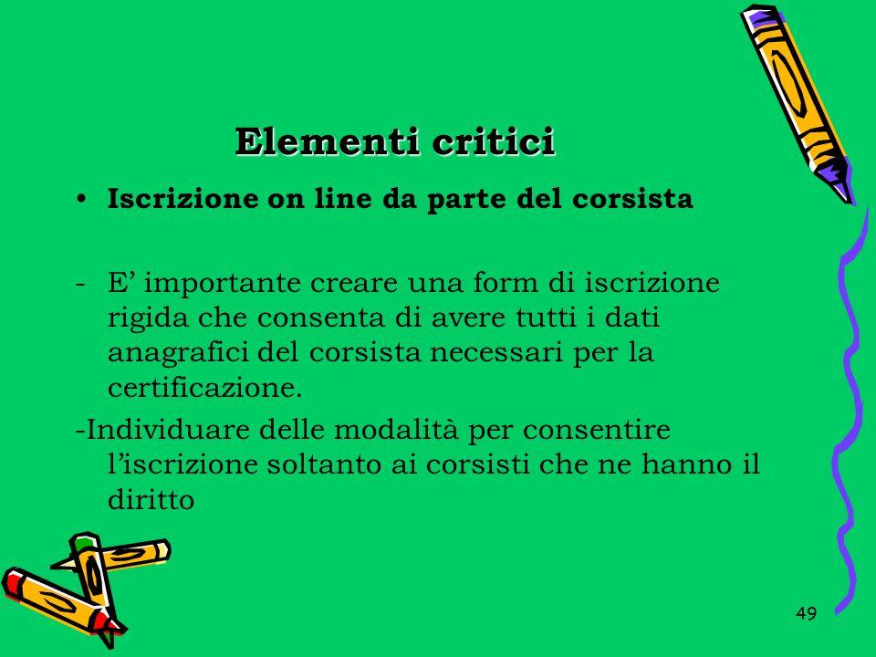Elementi critici Iscrizione on line da parte del corsista