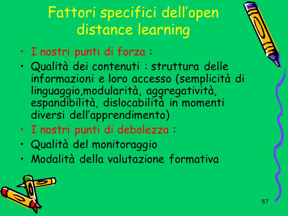 Fattori specifici dell'open distance learning