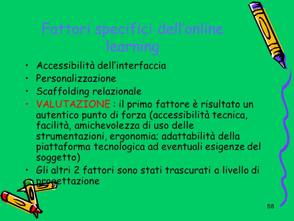 Fattori specifici dell'online learning