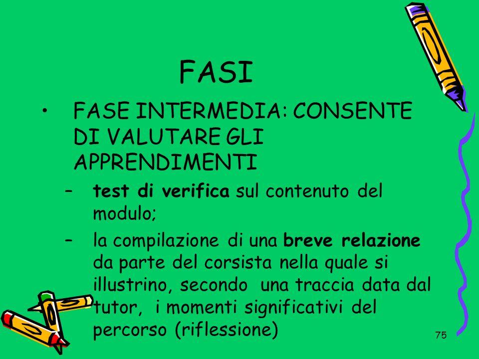FASI FASE INTERMEDIA: CONSENTE DI VALUTARE GLI APPRENDIMENTI