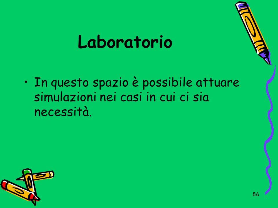Laboratorio In questo spazio è possibile attuare simulazioni nei casi in cui ci sia necessità.