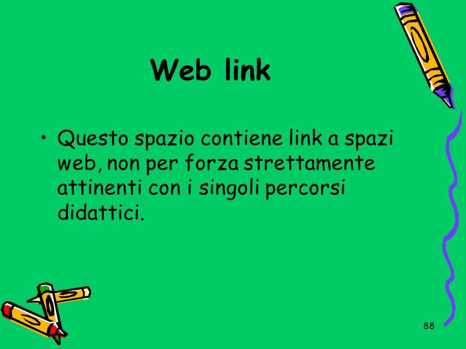 Web linkQuesto spazio contiene link a spazi web, non per forza strettamente attinenti con i singoli percorsi didattici.