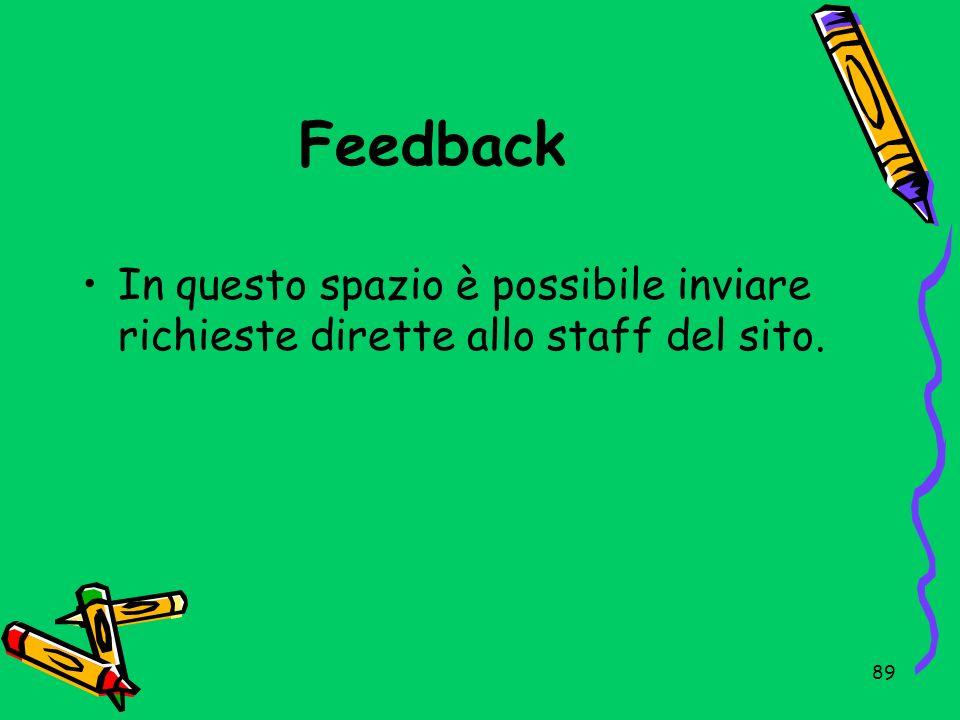 Feedback In questo spazio è possibile inviare richieste dirette allo staff del sito.