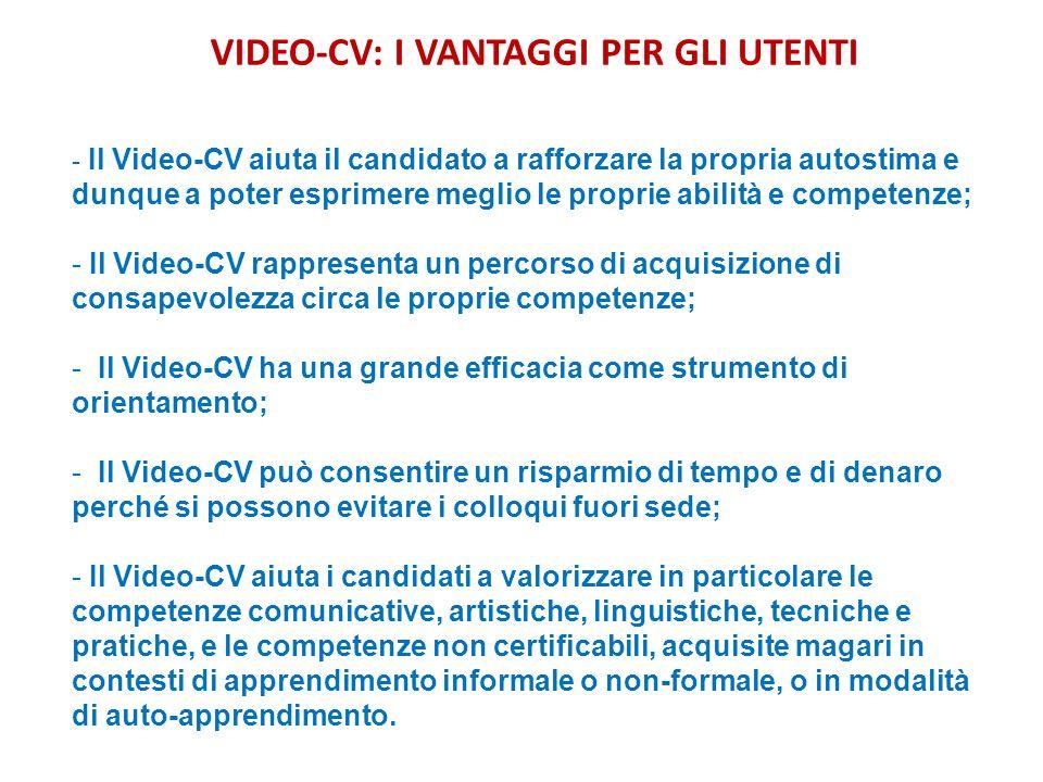 VIDEO-CV: I VANTAGGI PER GLI UTENTI