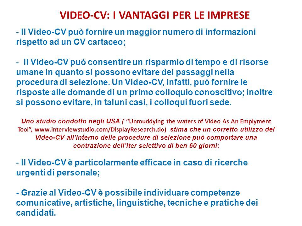 VIDEO-CV: I VANTAGGI PER LE IMPRESE