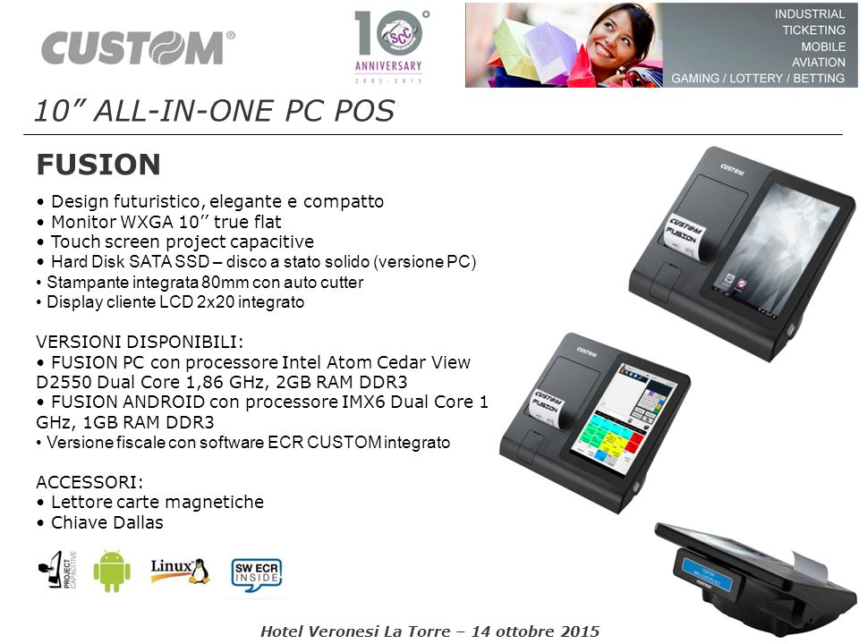 10 ALL-IN-ONE PC POS FUSION • Design futuristico, elegante e compatto