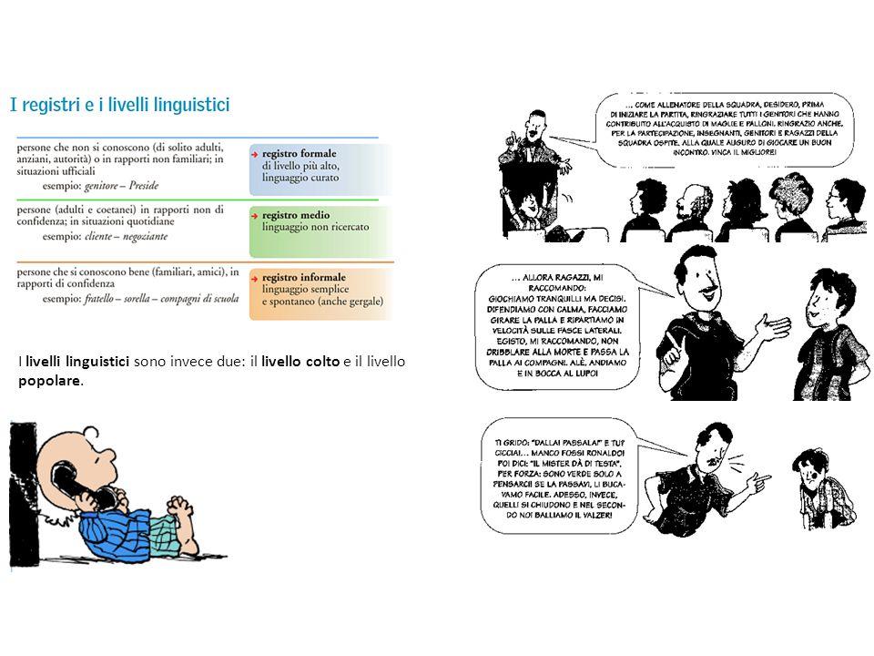 I livelli linguistici sono invece due: il livello colto e il livello popolare.