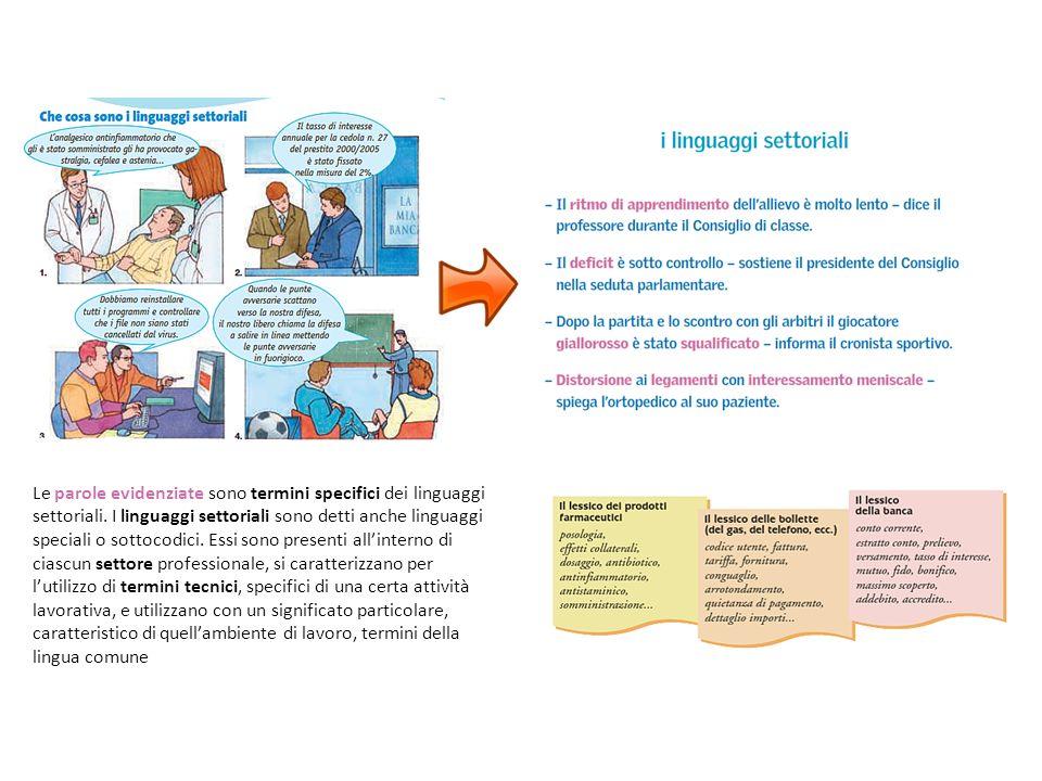 Le parole evidenziate sono termini specifici dei linguaggi settoriali