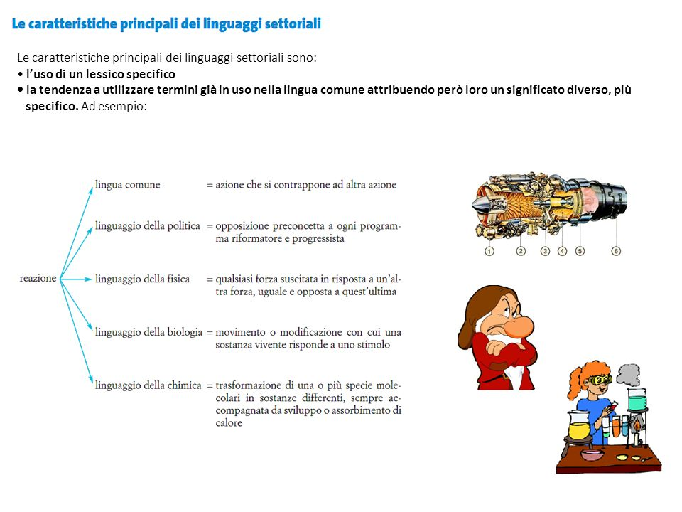 Le caratteristiche principali dei linguaggi settoriali sono: