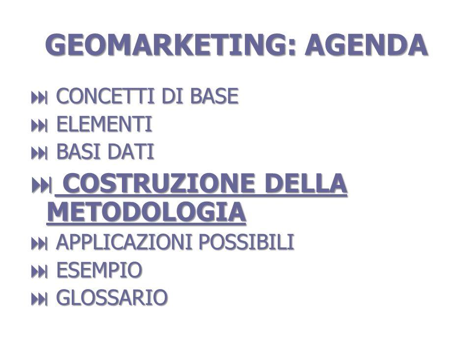 GEOMARKETING: AGENDA COSTRUZIONE DELLA METODOLOGIA CONCETTI DI BASE