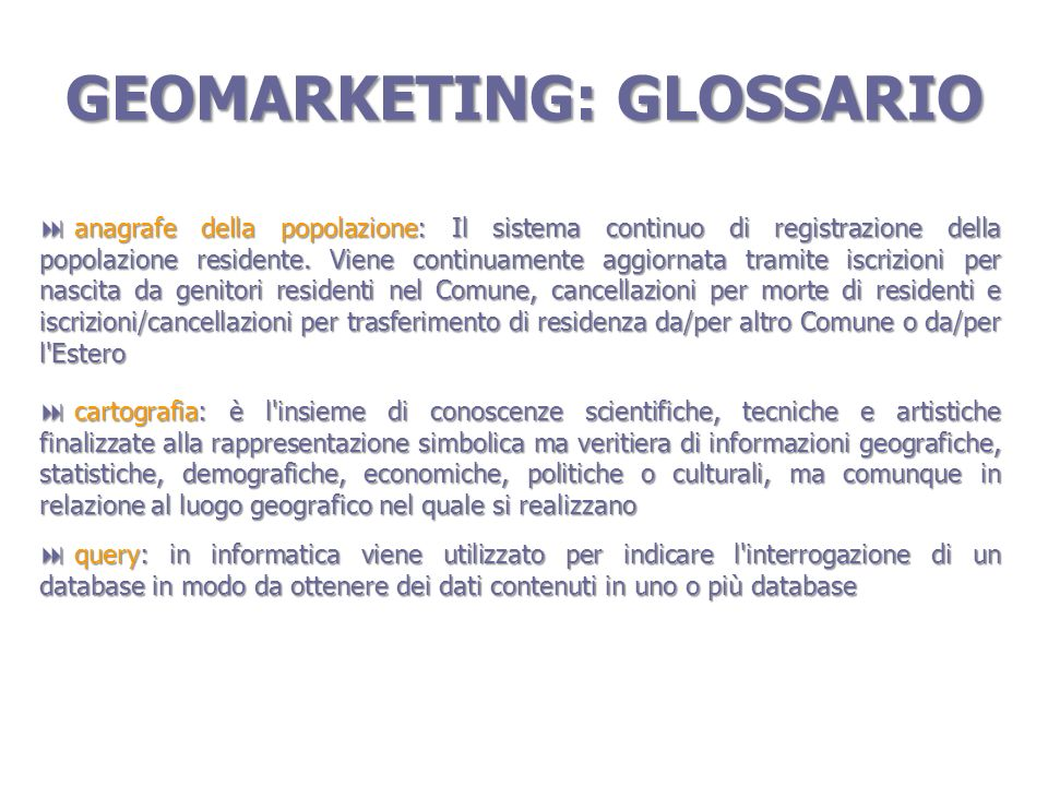 GEOMARKETING: GLOSSARIO