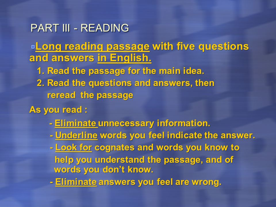 Long reading passage with five questions and answers in English.
