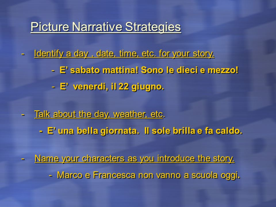 Picture Narrative Strategies
