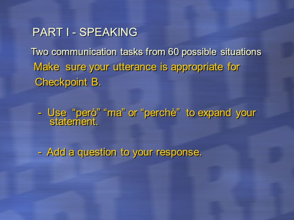 PART I - SPEAKING Checkpoint B.