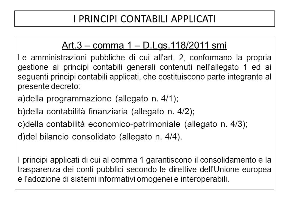 I PRINCIPI CONTABILI APPLICATI