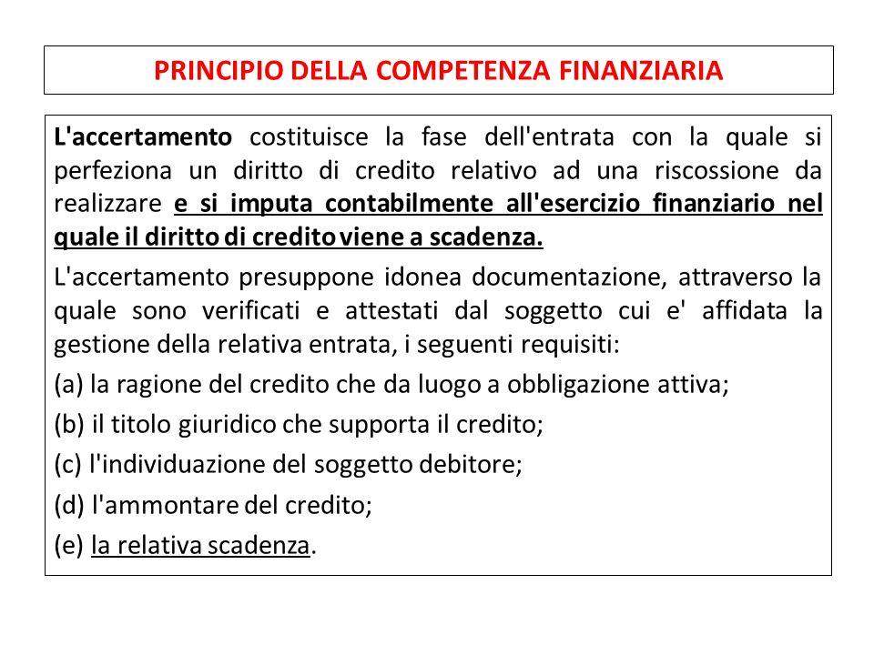 PRINCIPIO DELLA COMPETENZA FINANZIARIA