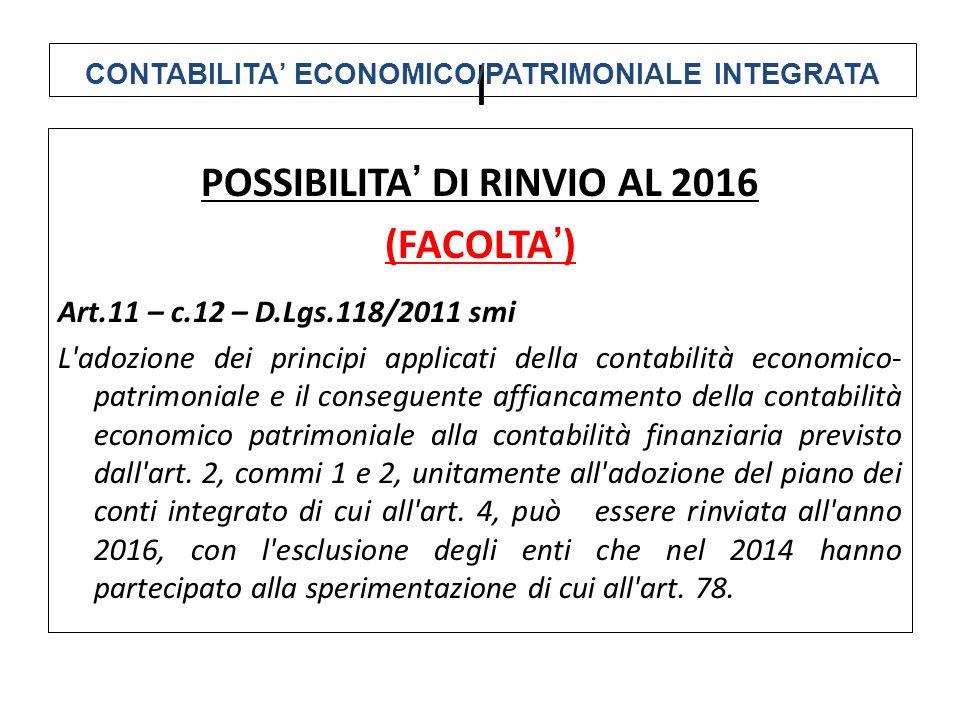 l POSSIBILITA' DI RINVIO AL 2016 (FACOLTA')