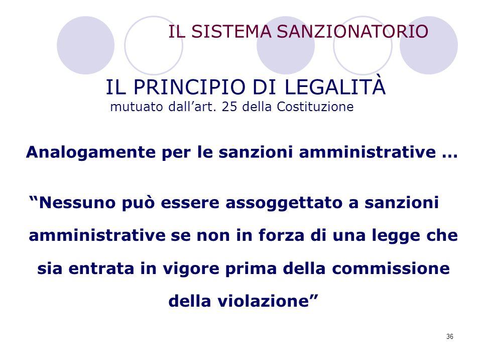 IL PRINCIPIO DI LEGALITÀ mutuato dall'art. 25 della Costituzione