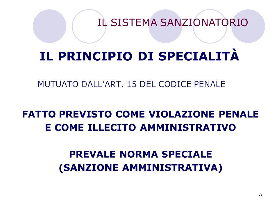 IL PRINCIPIO DI SPECIALITÀ MUTUATO DALL'ART. 15 DEL CODICE PENALE