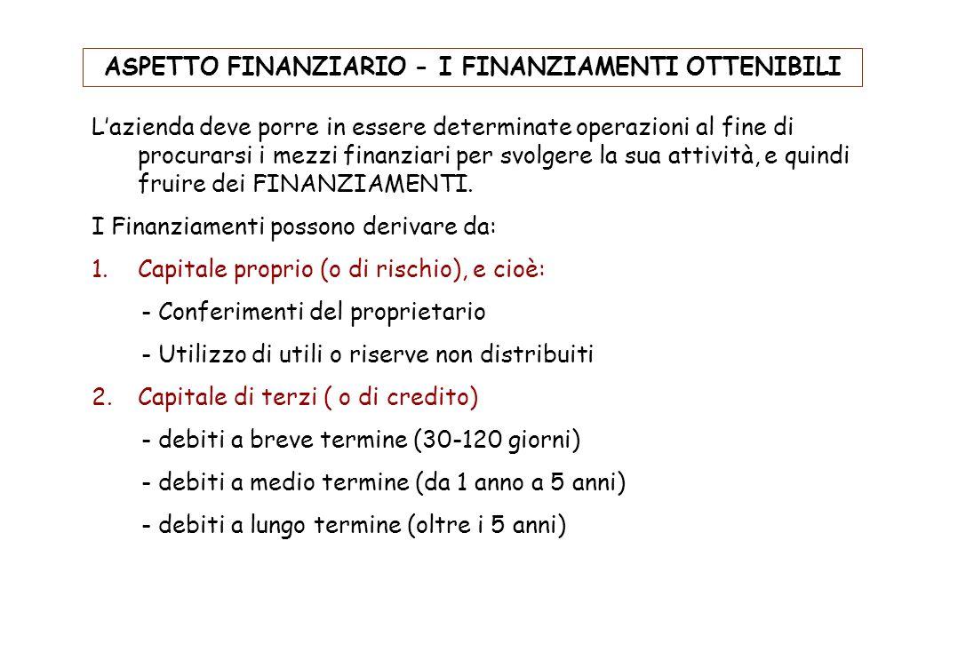 ASPETTO FINANZIARIO - I FINANZIAMENTI OTTENIBILI