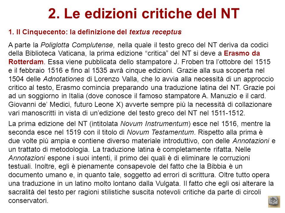 2. Le edizioni critiche del NT