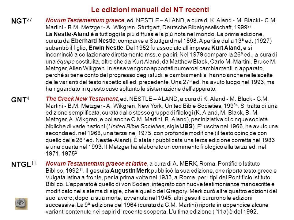 Le edizioni manuali del NT recenti