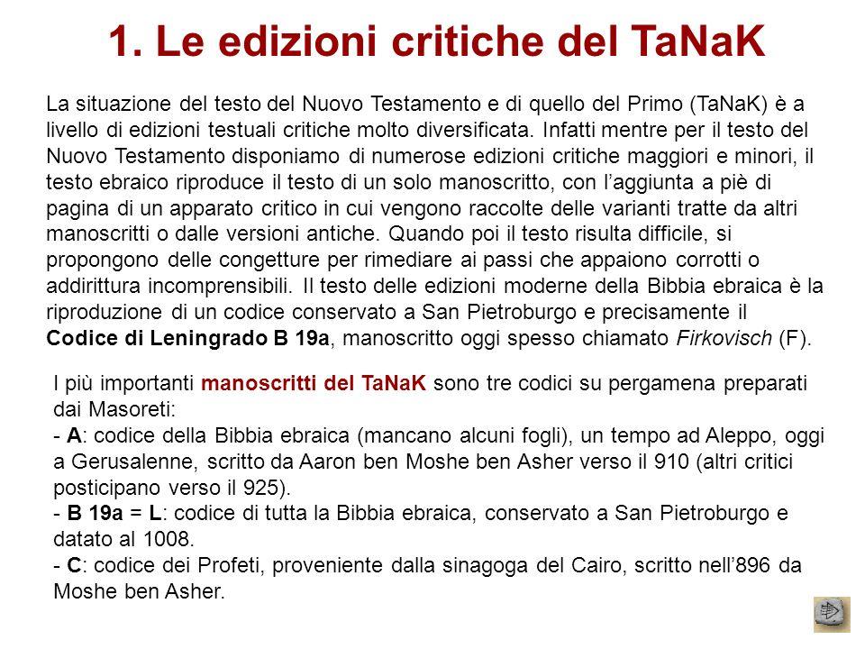 1. Le edizioni critiche del TaNaK