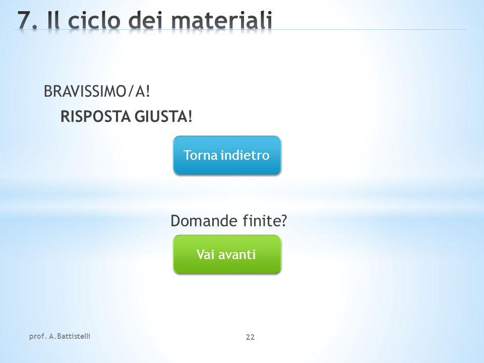 7. Il ciclo dei materiali BRAVISSIMO/A! RISPOSTA GIUSTA!
