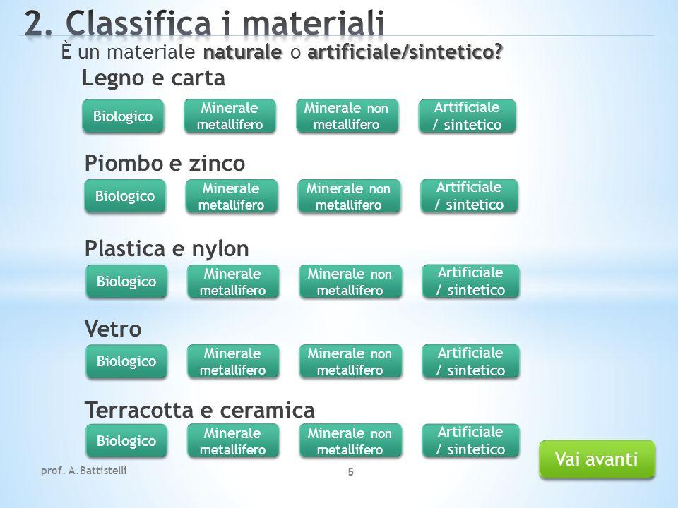 2. Classifica i materiali