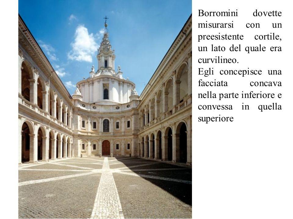Borromini dovette misurarsi con un preesistente cortile, un lato del quale era curvilineo.