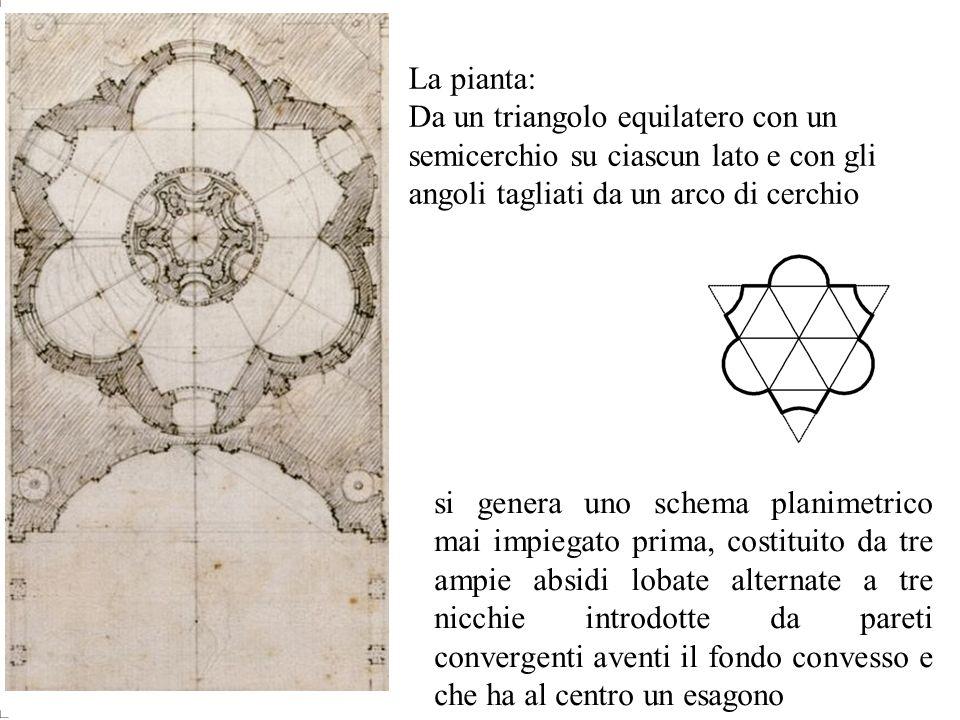 La pianta: Da un triangolo equilatero con un semicerchio su ciascun lato e con gli angoli tagliati da un arco di cerchio.