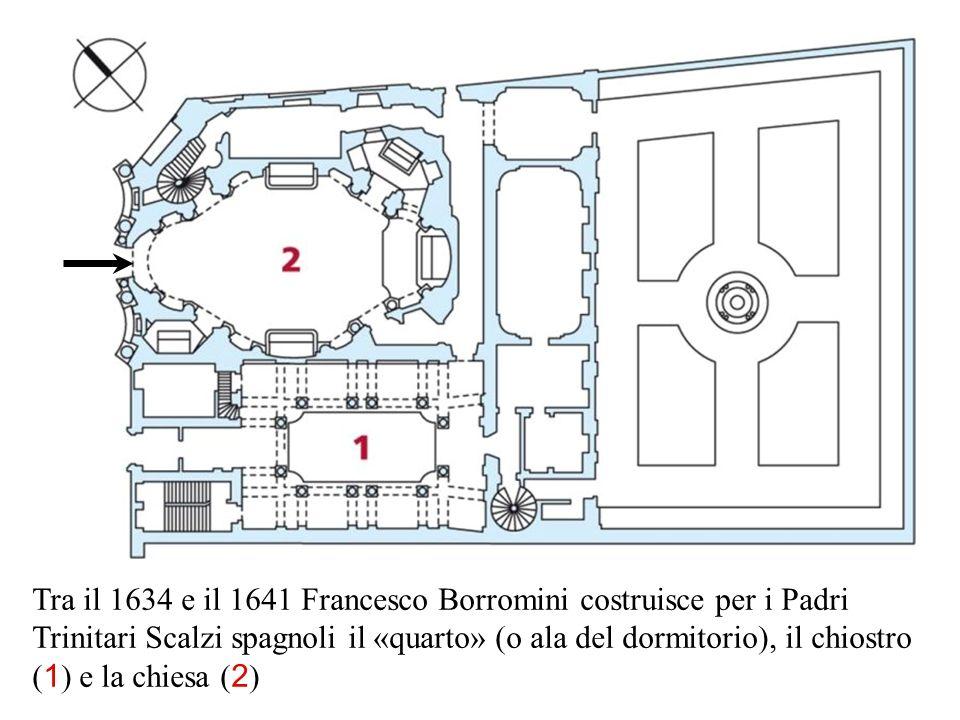Tra il 1634 e il 1641 Francesco Borromini costruisce per i Padri Trinitari Scalzi spagnoli il «quarto» (o ala del dormitorio), il chiostro (1) e la chiesa (2)