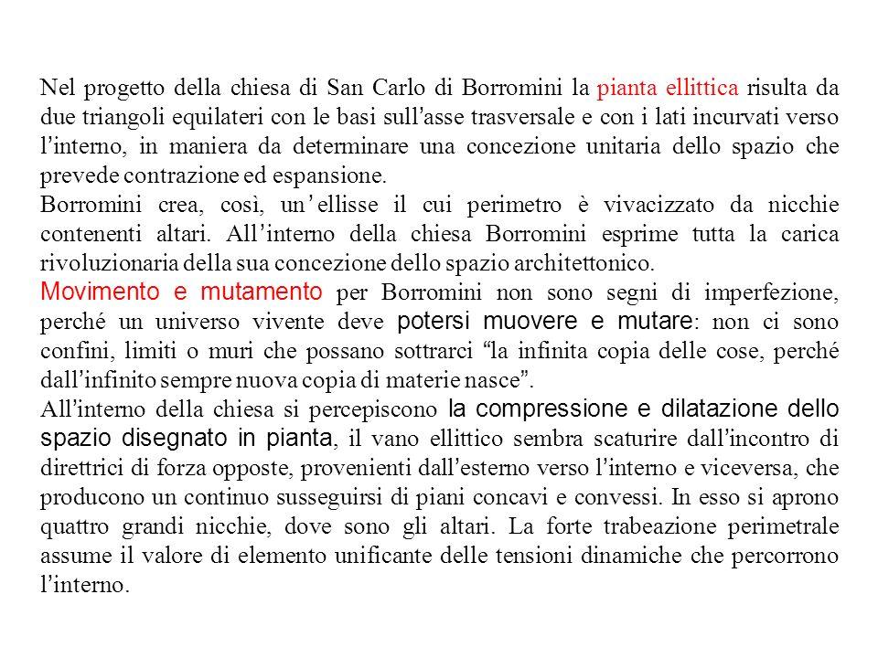 Nel progetto della chiesa di San Carlo di Borromini la pianta ellittica risulta da due triangoli equilateri con le basi sull'asse trasversale e con i lati incurvati verso l'interno, in maniera da determinare una concezione unitaria dello spazio che prevede contrazione ed espansione.