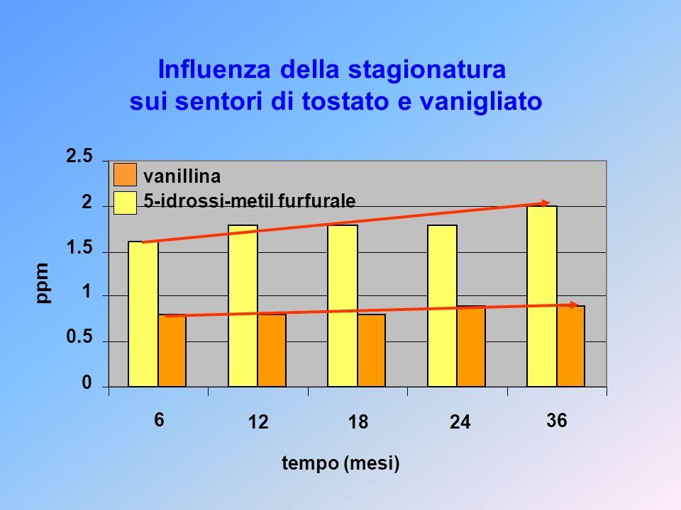 Influenza della stagionatura sui sentori di tostato e vanigliato