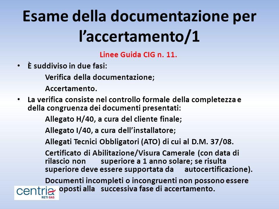 Esame della documentazione per l'accertamento/1