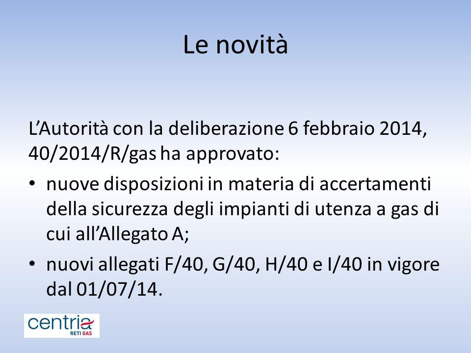 Le novità L'Autorità con la deliberazione 6 febbraio 2014, 40/2014/R/gas ha approvato: