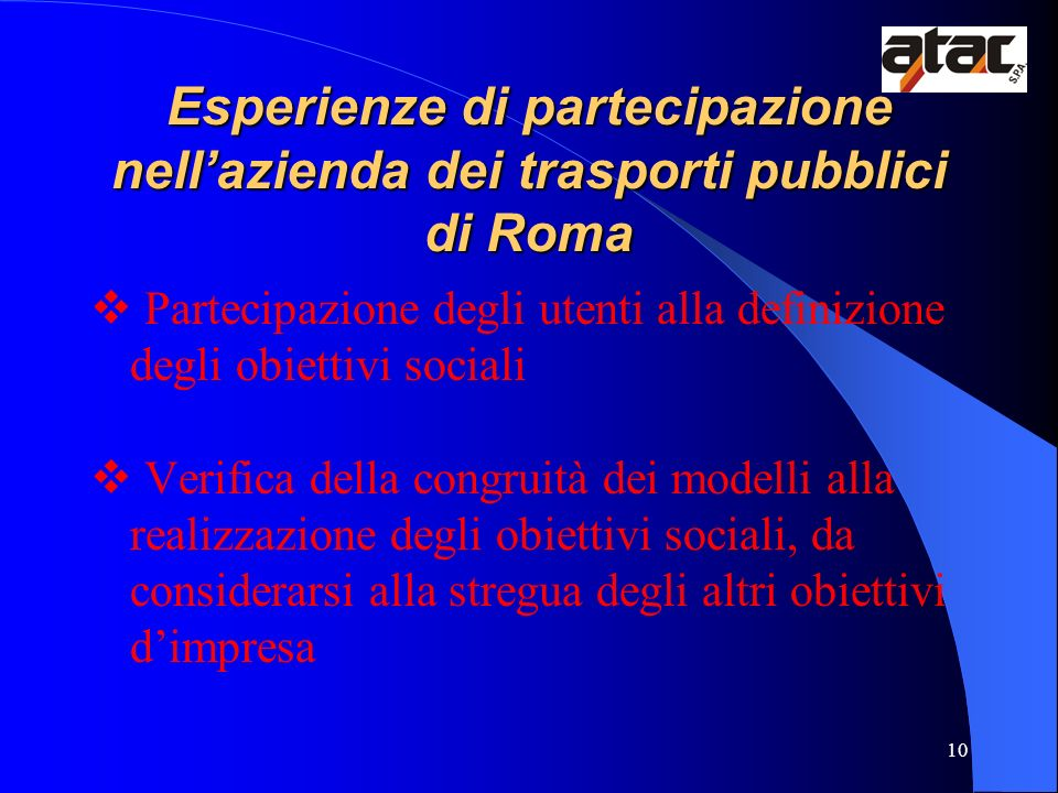 Esperienze di partecipazione nell'azienda dei trasporti pubblici di Roma