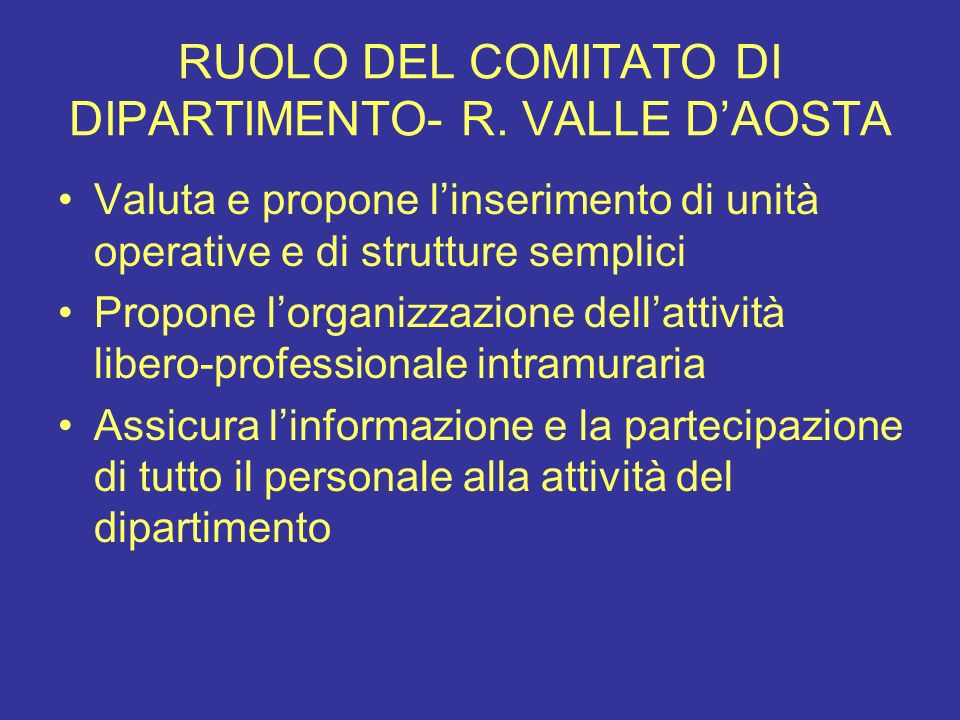RUOLO DEL COMITATO DI DIPARTIMENTO- R. VALLE D'AOSTA