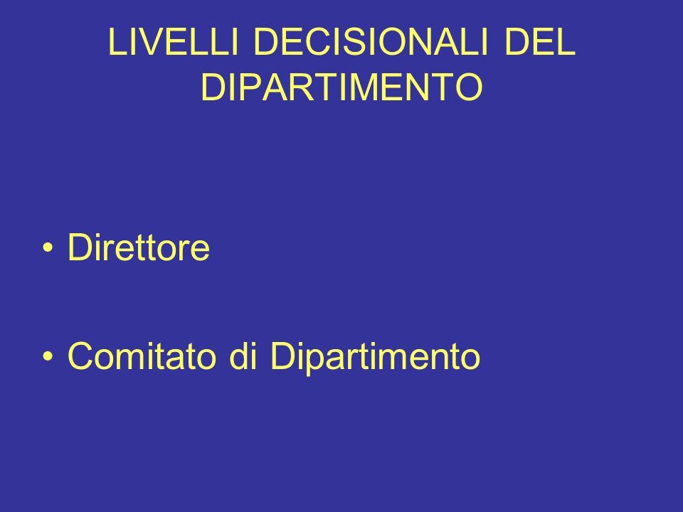 LIVELLI DECISIONALI DEL DIPARTIMENTO