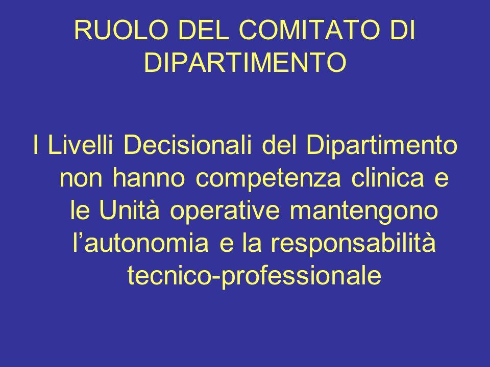 RUOLO DEL COMITATO DI DIPARTIMENTO