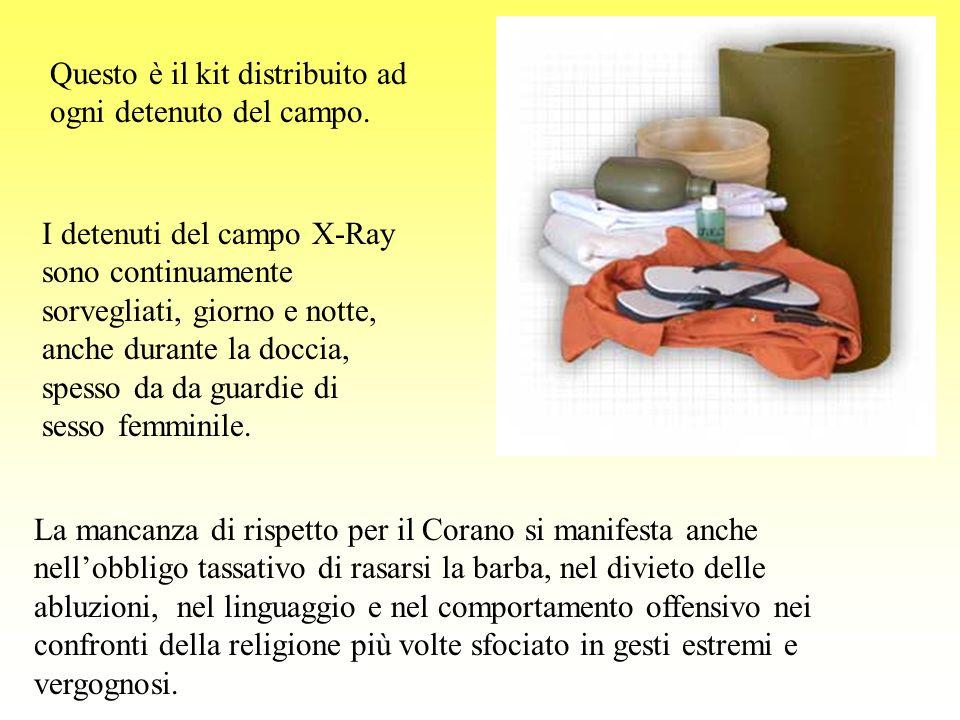 Questo è il kit distribuito ad ogni detenuto del campo.