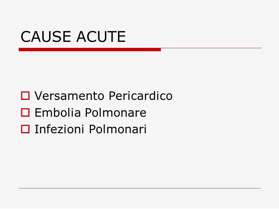 CAUSE ACUTE Versamento Pericardico Embolia Polmonare