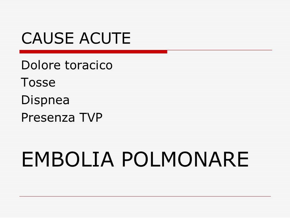 EMBOLIA POLMONARE CAUSE ACUTE Dolore toracico Tosse Dispnea