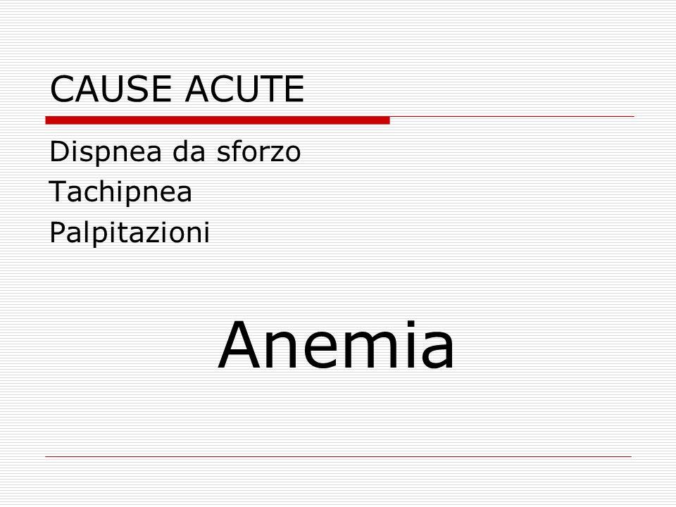 CAUSE ACUTE Dispnea da sforzo Tachipnea Palpitazioni Anemia