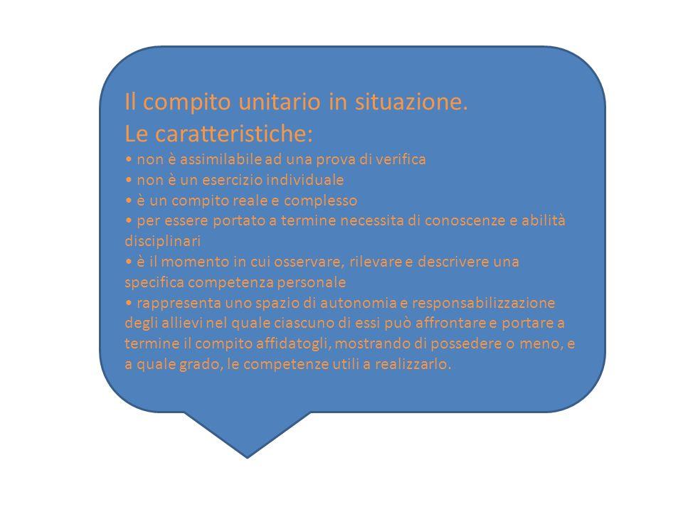 Il compito unitario in situazione. Le caratteristiche: