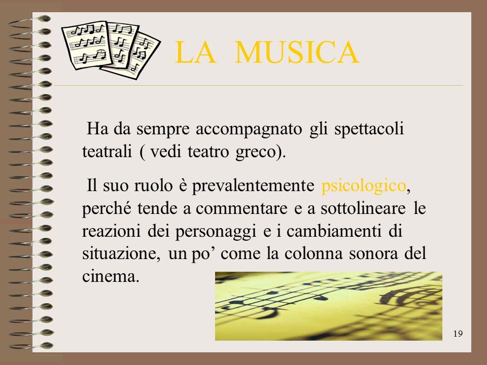LA MUSICA Ha da sempre accompagnato gli spettacoli teatrali ( vedi teatro greco).