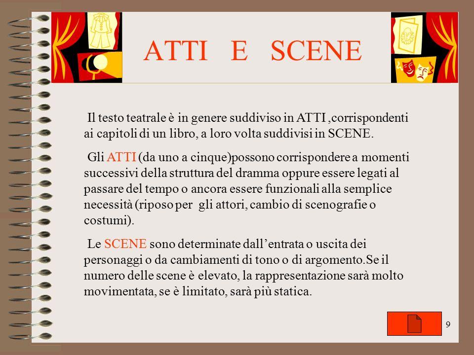 ATTI E SCENE Il testo teatrale è in genere suddiviso in ATTI ,corrispondenti ai capitoli di un libro, a loro volta suddivisi in SCENE.