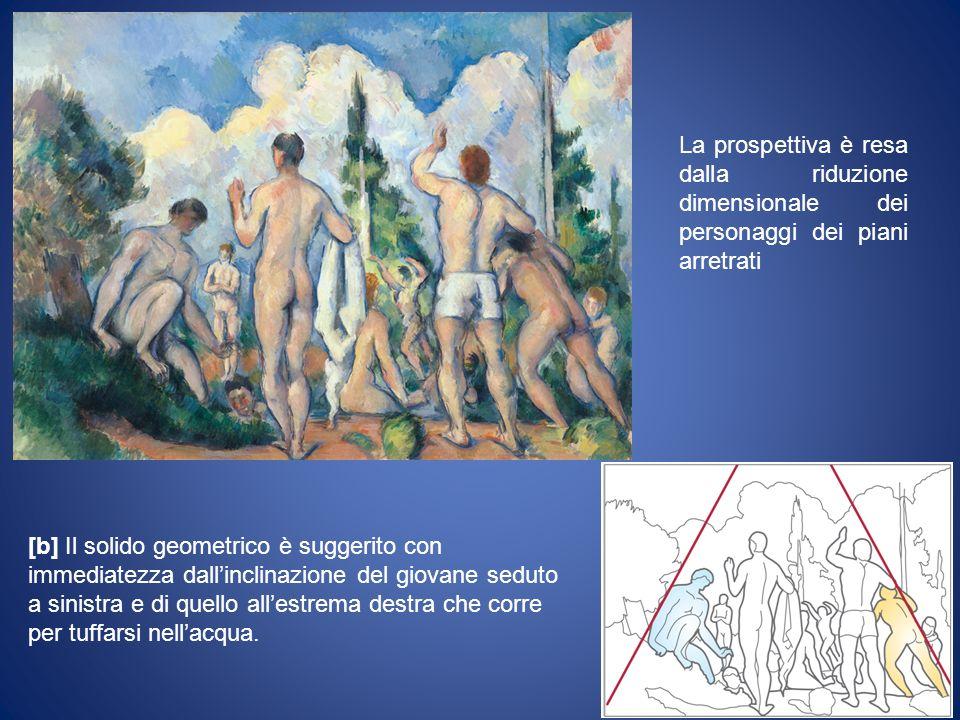 La prospettiva è resa dalla riduzione dimensionale dei personaggi dei piani arretrati