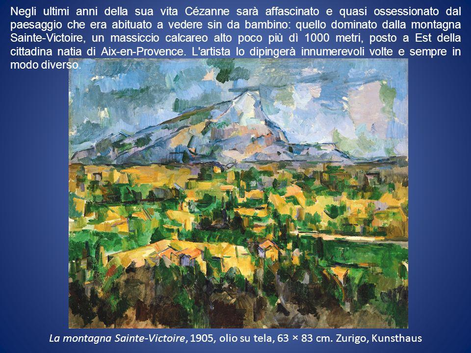 Negli ultimi anni della sua vita Cézanne sarà affascinato e quasi ossessionato dal paesaggio che era abituato a vedere sin da bambino: quello dominato dalla montagna Sainte-Victoire, un massiccio calcareo alto poco più dì 1000 metri, posto a Est della cittadina natia di Aix-en-Provence. L artista lo dipingerà innumerevoli volte e sempre in modo diverso.