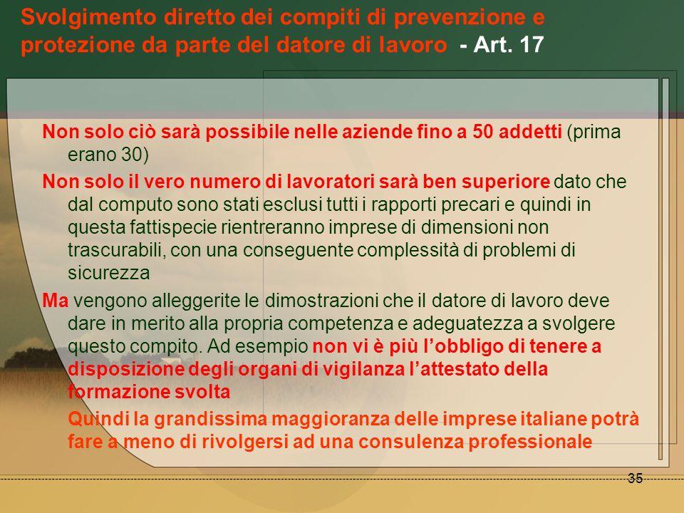 Svolgimento diretto dei compiti di prevenzione e protezione da parte del datore di lavoro - Art. 17